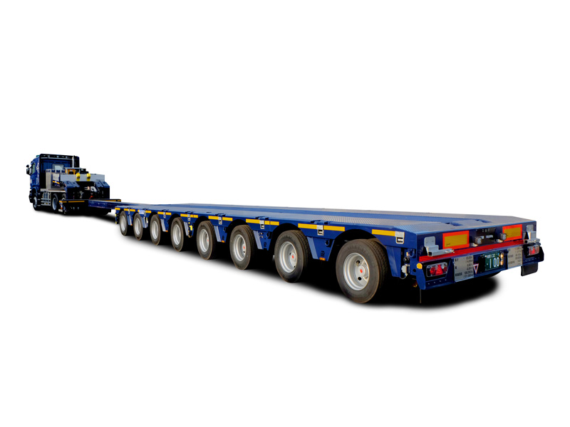 8軸伸縮舵切昇降装置付油圧トレーラー
